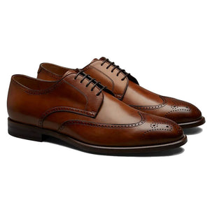 Tan Leather Formal Derby Brogue Lace Up Shoes for Men. Manmade Comfortable Sole. Customization Available.