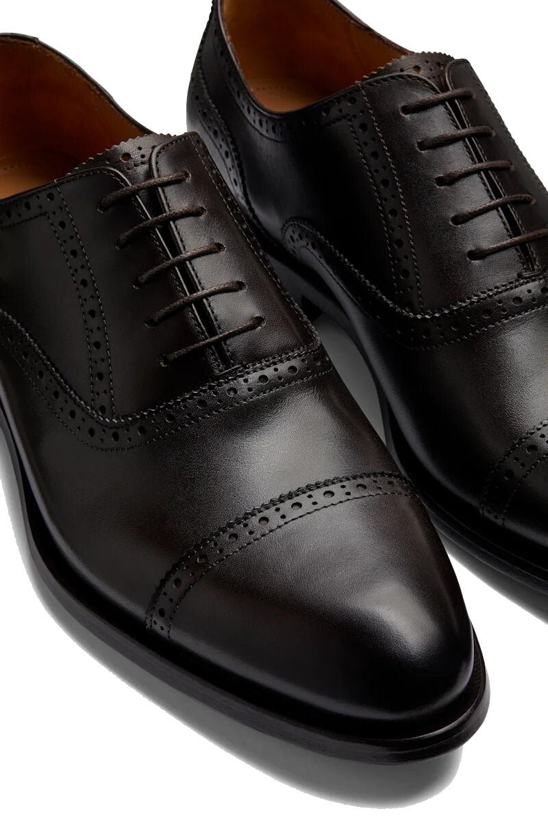 Black Leather Formal Toe Cap Oxford Brogue Lace Up Shoes for Men. Manmade Comfortable Sole. Customization Available.