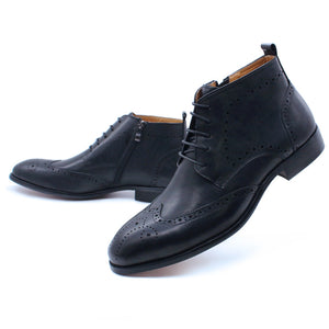 Kyobe Black Wingtip Derby Zip Lace Up Boot