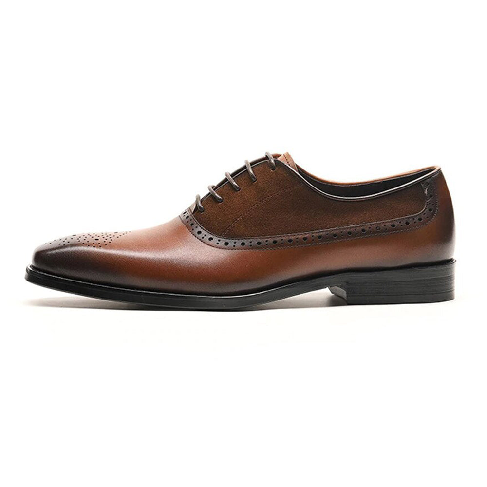 Brown Leather Tan Suede Formal Oxford Brogue Lace Up Shoes for Men. Manmade Comfortable Sole. Customization Available.