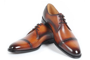 Tan Leather Patina Finish Formal Derby Lace Up Shoes for Men. Manmade Comfortable Sole. Customization Available.