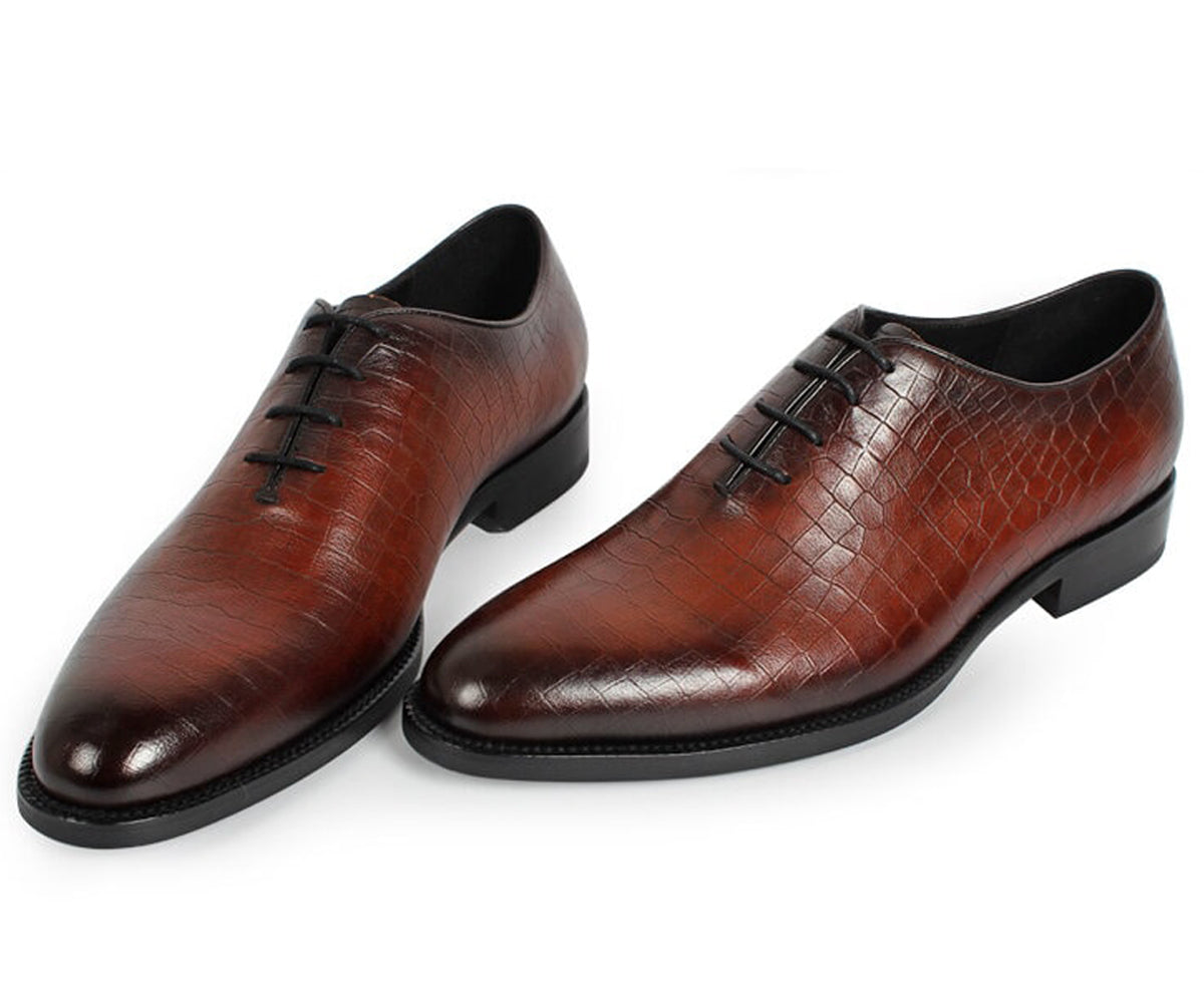 Tan Croco Print Leather Formal Wholecut Oxford Lace Up Shoes for Men. Manmade Comfortable Sole. Customization Available.