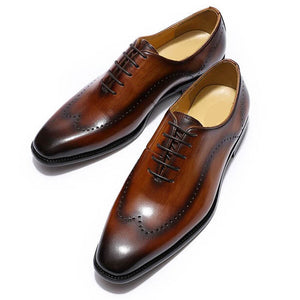 Tan Brown Dual Tone Leather Patina Finish Formal Wingtip Wholecut Oxford Brogue Lace Up Shoes for Men. Manmade Comfortable Sole. Customization Available.