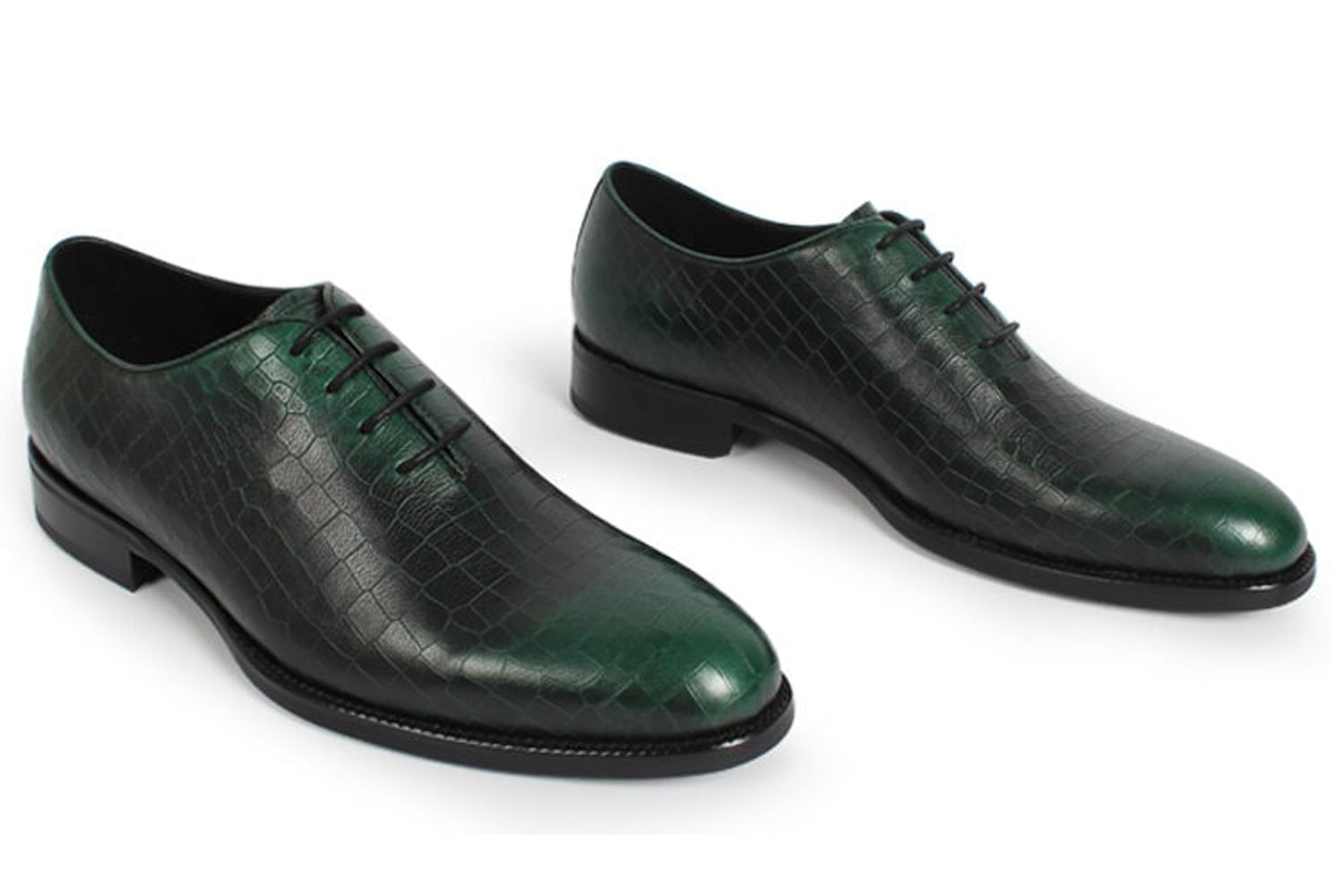 Green Croco Print Leather Formal Wholecut Oxford Lace Up Shoes for Men. Manmade Comfortable Sole. Customization Available.