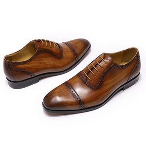Tan Leather Patina Finish Formal Toe Cap Oxford Brogue Lace Up Shoes for Men. Manmade Comfortable Sole. Customization Available.