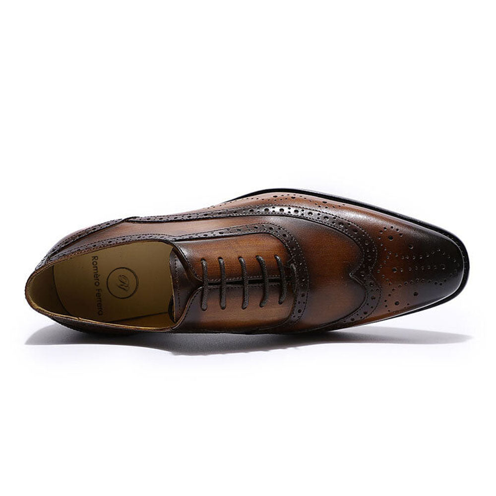 Tan Brown Leather Patina Finish Formal Wingtip Oxford Brogue Lace Up Shoes for Men. Manmade Comfortable Sole. Customization Available.