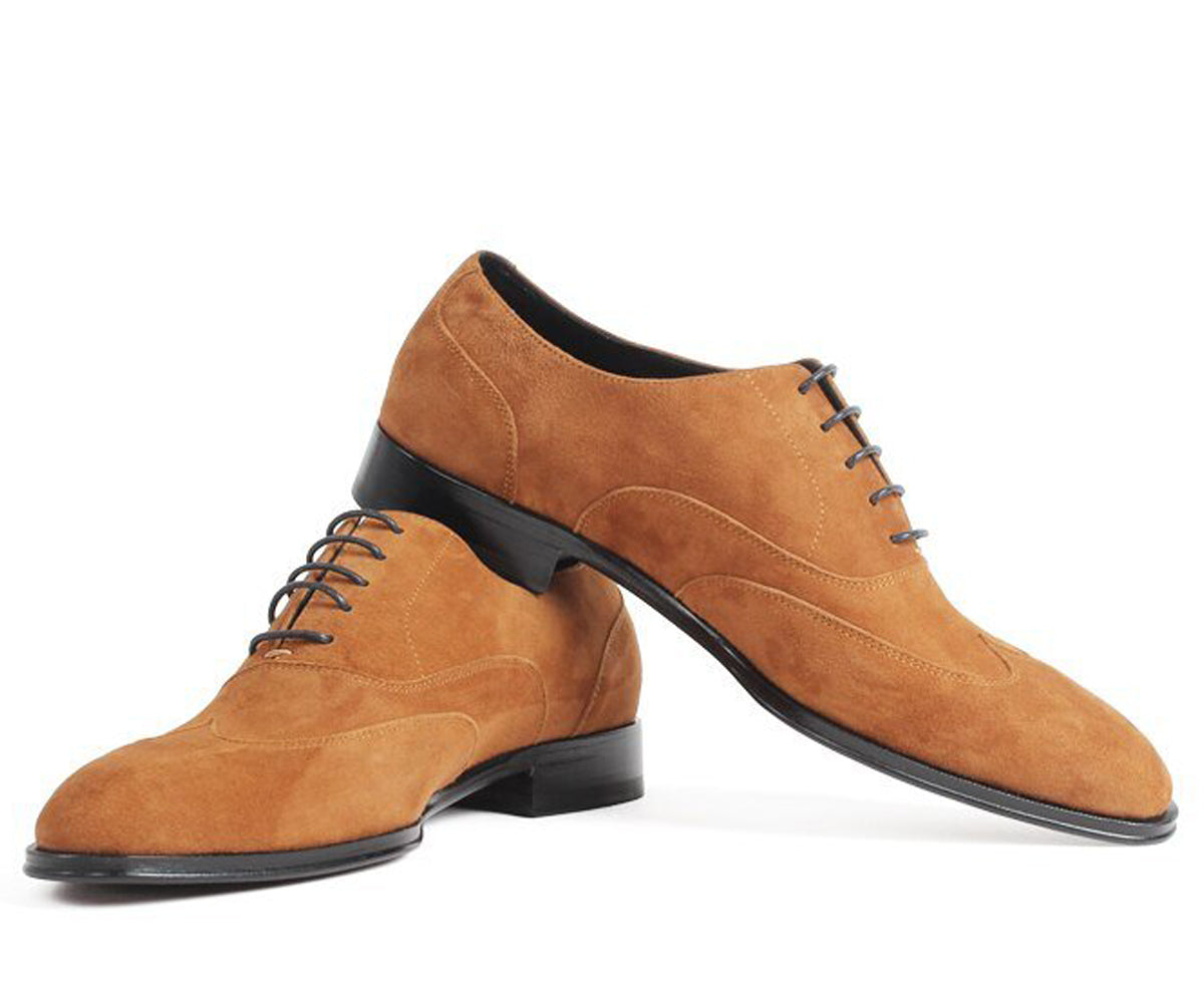 Tan Leather Suede Formal Oxford Wingtip Lace Up Shoes for Men. Manmade Comfortable Sole. Customization Available.