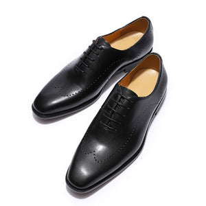 Black Leather Formal Wingtip Wholecut Oxford Brogue Lace Up Shoes for Men. Manmade Comfortable Sole. Customization Available.