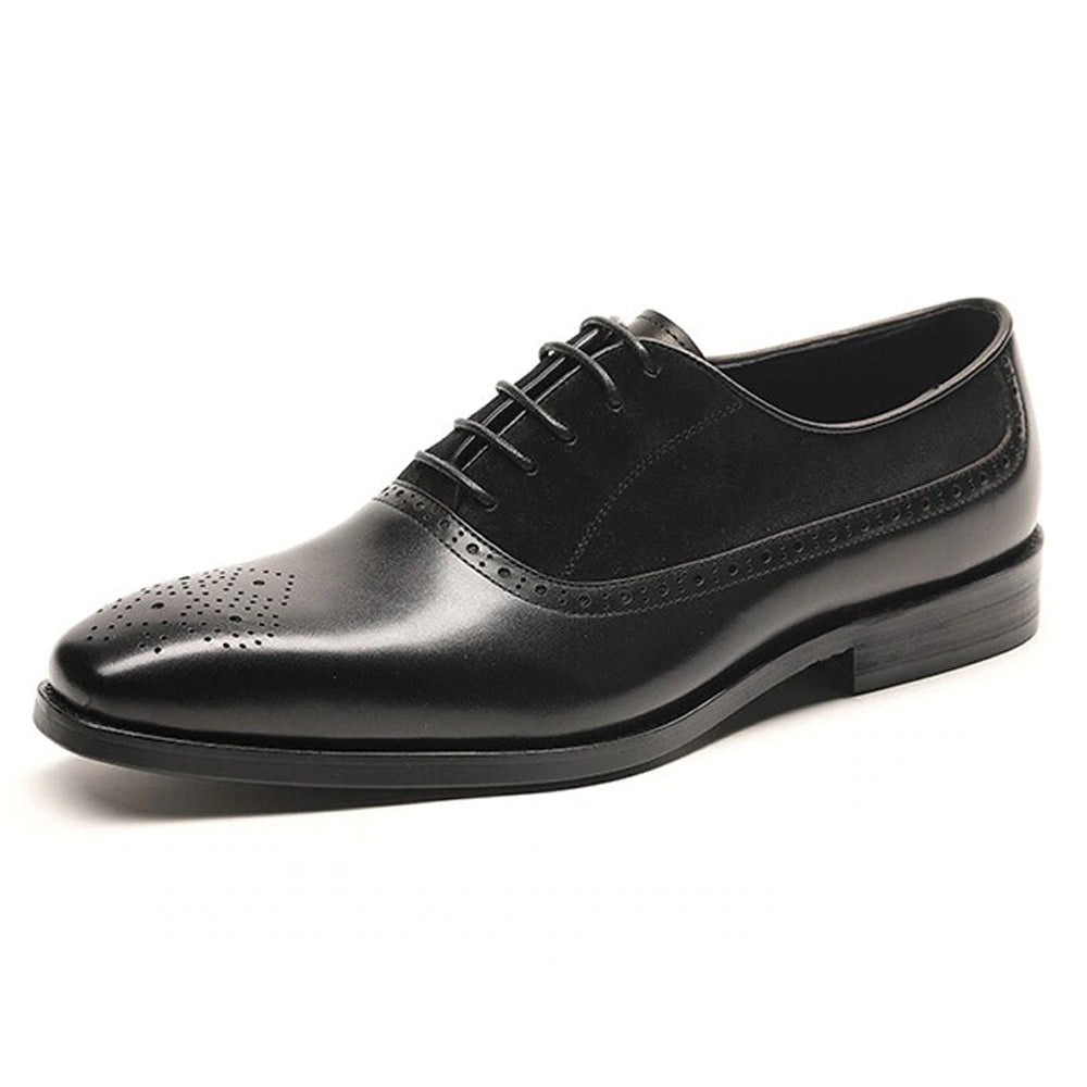 Black Leather Suede Formal Oxford Brogue Lace Up Shoes for Men. Manmade Comfortable Sole. Customization Available.