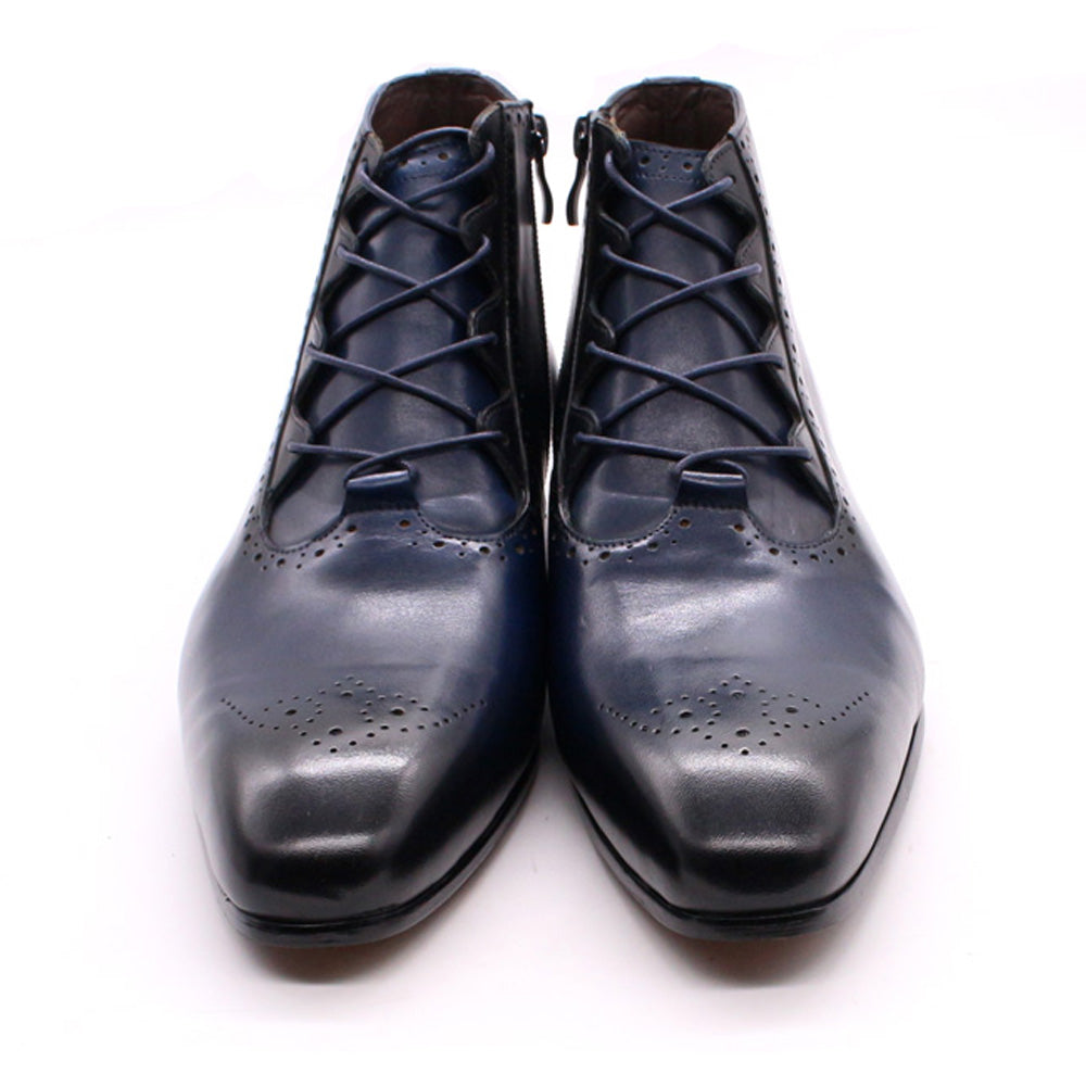 Zyan Navy Blue Lace Up Boot