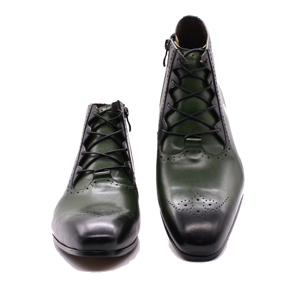 Zyan Olive Green Lace Up Boot