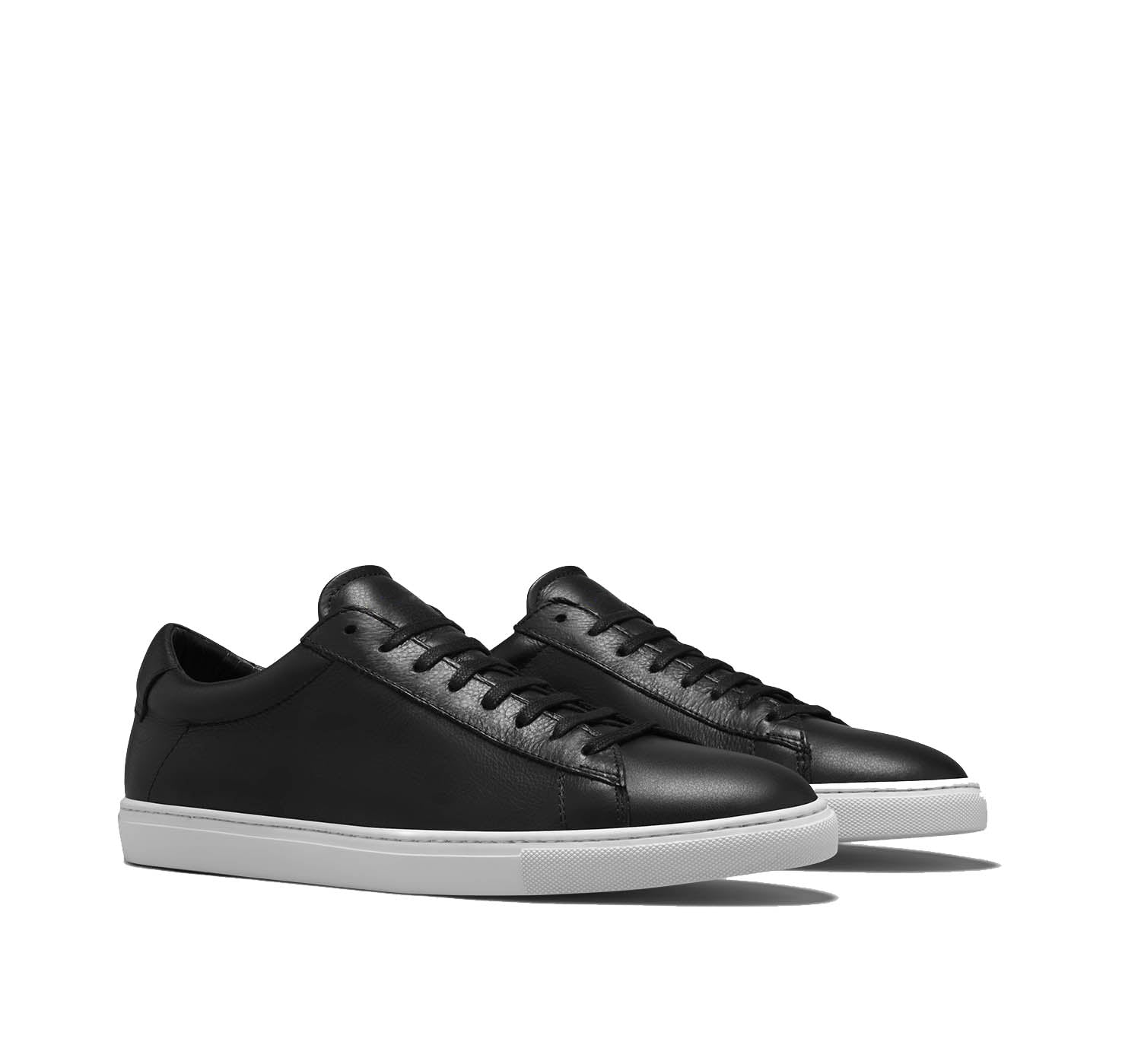 Black Leather Low Top Lace Up Sneaker for Men. White Comfortable Cup Sole.