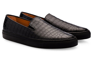 Black Croco Print Leather Slip-on Loafer Sneaker for Men. Black Comfortable Cup Sole.