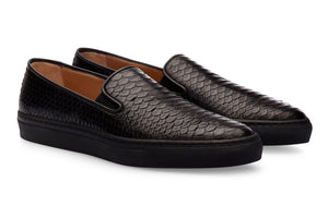 Black Snake Print Leather Slip-on Loafer Sneaker for Men. Black Comfortable Cup Sole.