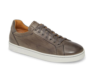 Grey Patina Finish Leather Low Top Lace Up Sneaker for Men. White Comfortable Cup Sole.