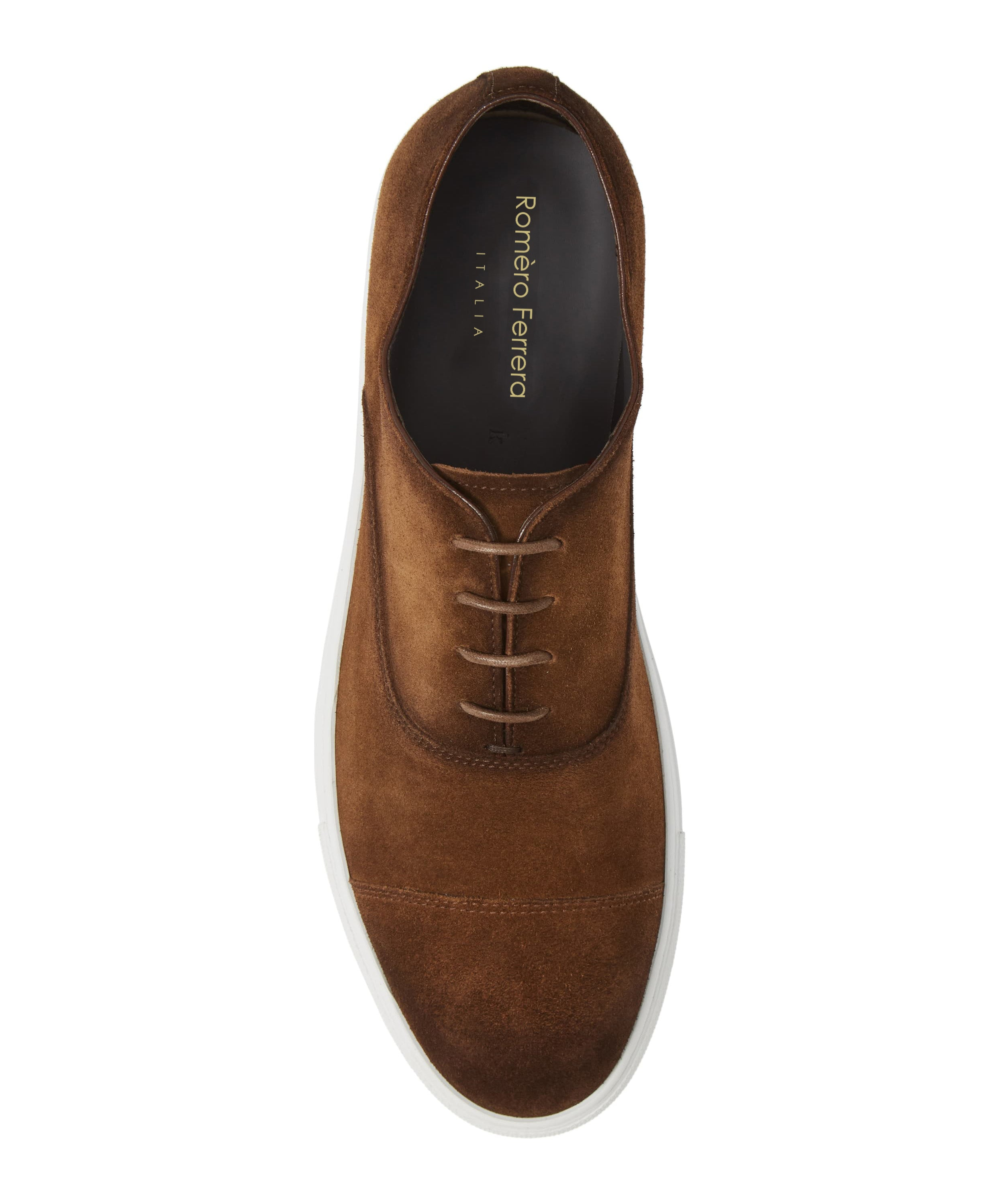 Dark Brown Burnished Suede Leather Low Top Lace Up Sneaker for Men. White Comfortable Cup Sole.