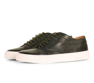Olive Green Patina Finish Leather Low Top Lace Up Sneaker for Men. White Comfortable Cup Sole.