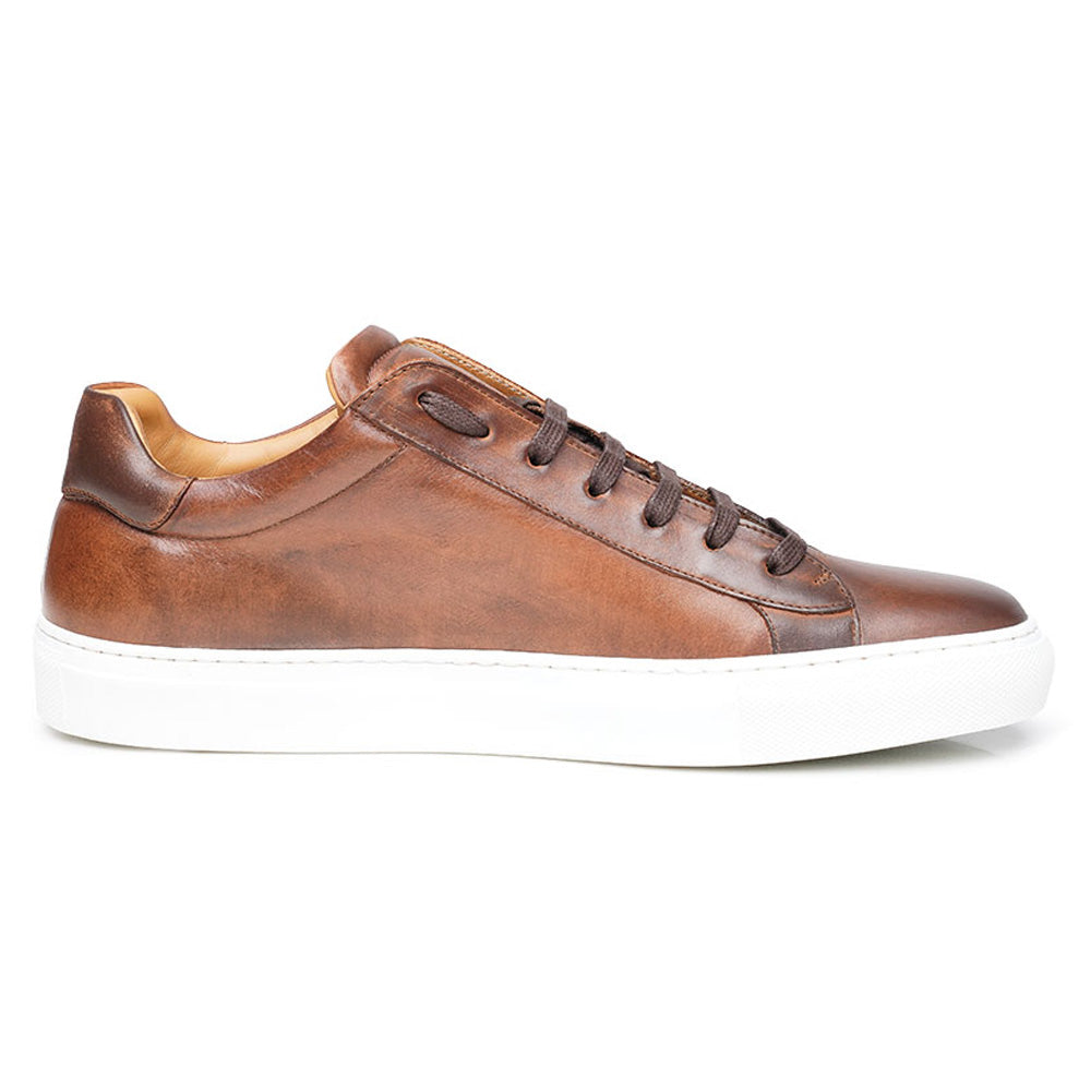 Tan Brown Patina Finish Leather Low Top Lace Up Sneaker for Men. White Comfortable Cup Sole.