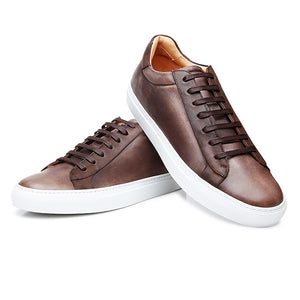 Brown Patina Finish Leather Low Top Lace Up Sneaker for Men. White Comfortable Cup Sole.