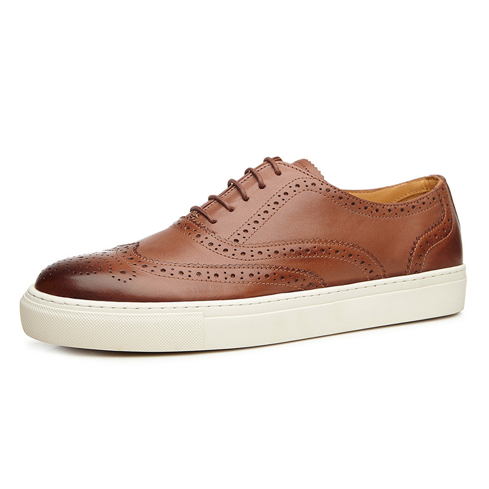 Tan Leather Wingtip Oxford Low Top Lace Up Sneaker for Men. White Comfortable Cup Sole.