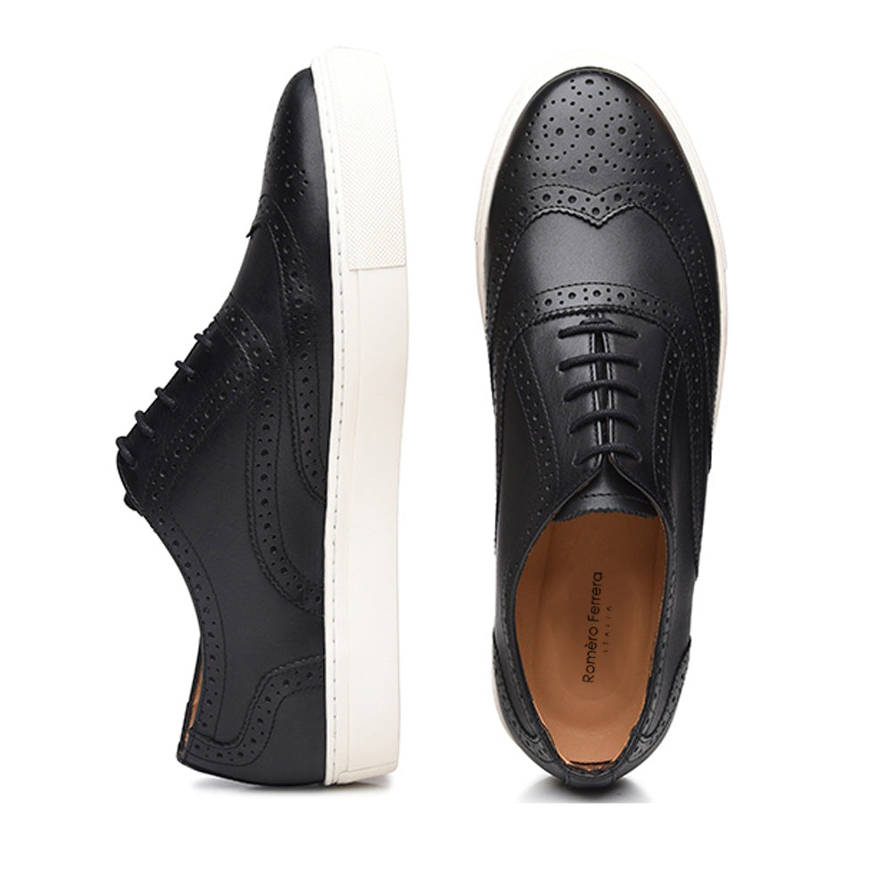 Black Leather Wingtip Oxford Low Top Lace Up Sneaker for Men. White Comfortable Cup Sole.