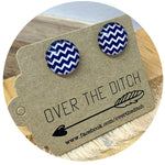 Domes- Blue & White Chunky Chevron