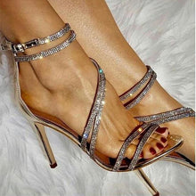 Load image into Gallery viewer, Ani Rhinestone Strap Cross Heels