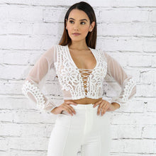 Load image into Gallery viewer, Lacey Lace Mesh Chiffon Blouse