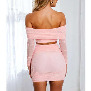 Tessie Pink Off Shoulder Top/Skirt