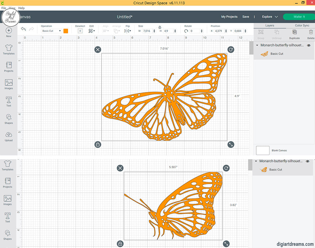 Butterfly SVG files cutting with Cricut Explore Air 2