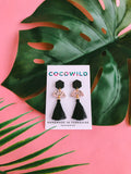 PICK & MIX - Speckled Beige & Black hexagon studs  - YOU CHOOSE THE FINISH