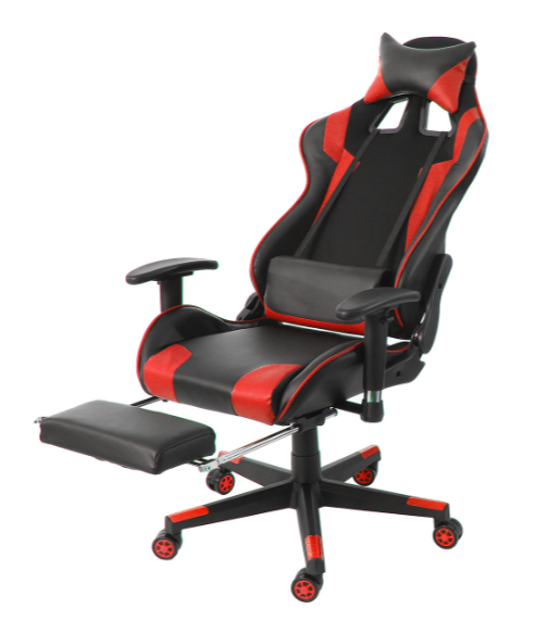 Gaming Chair Ergonomic with Adjustable Armrests High-Back  Leather Desk Chair with Footrest
