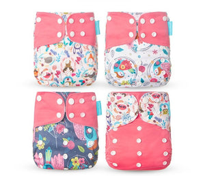 4 Pack, Happy Flute pocket reusable diaper, pink drawings