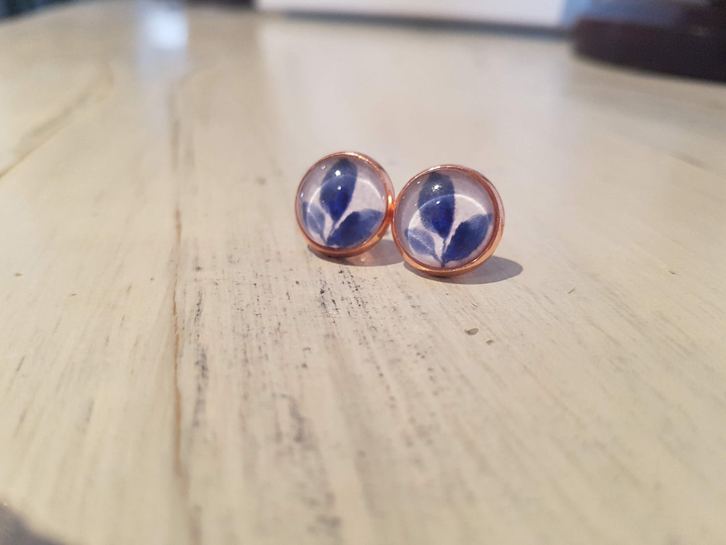 Blue leaves in Rose Gold