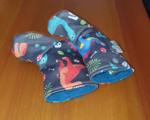 Load image into Gallery viewer, Baby leather sole winter booties, Dino print