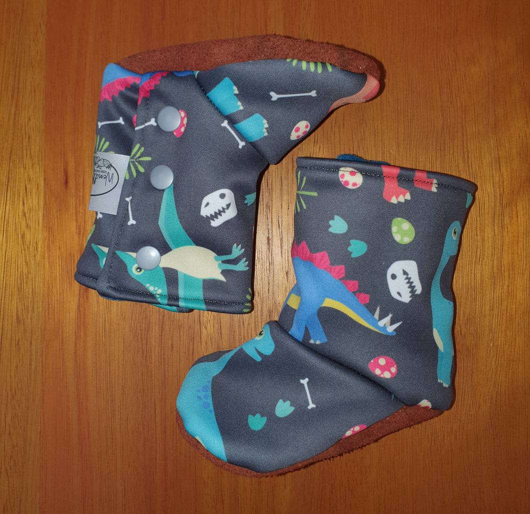 Baby leather sole winter booties, Dino print