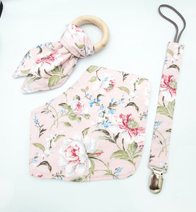 Bib, teether and dummy clip combo, vintage pink