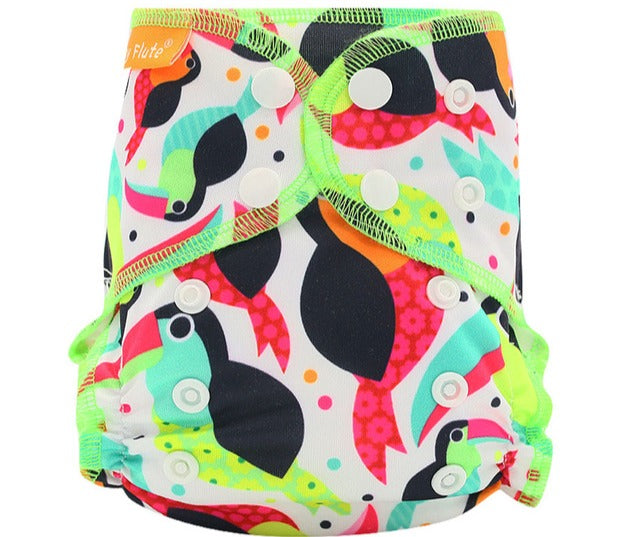 Newborn Happy Flute reusable cloth diaper, ALL-IN-ONE, bright birds