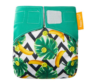 Happy Flute reusable All in one diaper, Velcro, banana and leaves