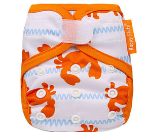 Happy Flute Newborn Velcro diaper cover, crabs