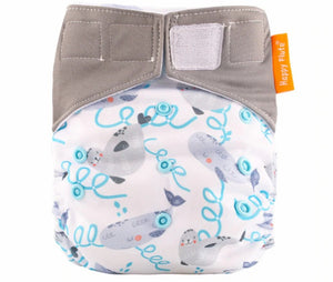 Happy Flute reusable All in one diaper, Velcro, Seal