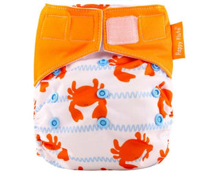 Happy Flute reusable All in one diaper, Velcro, Crab