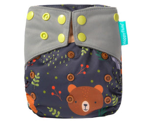 Happy Flute reusable cloth diaper, Heavy wetter Charcoal bamboo ALL-IN-ONE, Tiny bear
