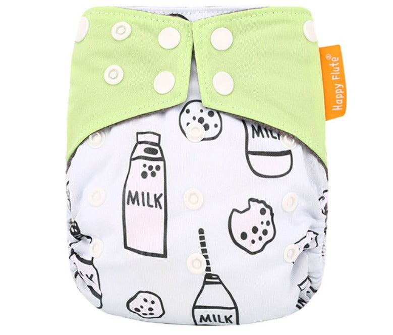 Happy Flute reusable cloth diaper, Heavy wetter Charcoal bamboo ALL-IN-ONE, Milk