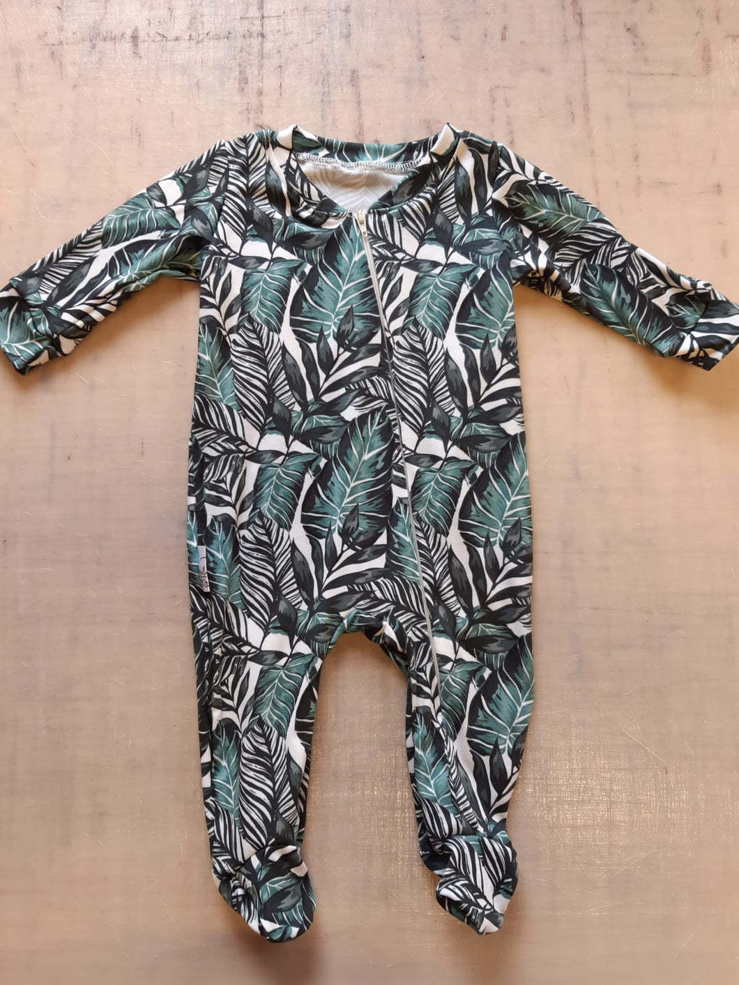 Banana leaves zip baby grow
