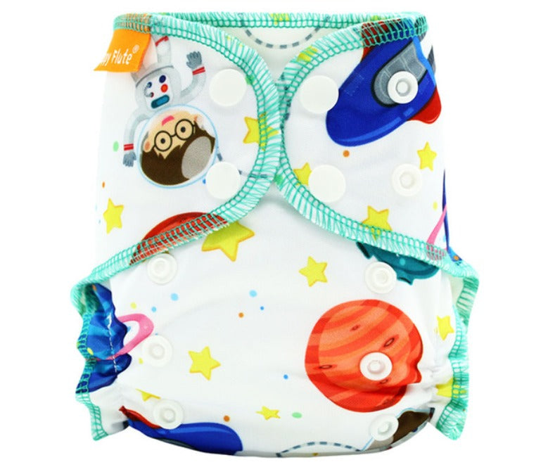 Newborn Happy Flute reusable cloth diaper, ALL-IN-ONE, Space