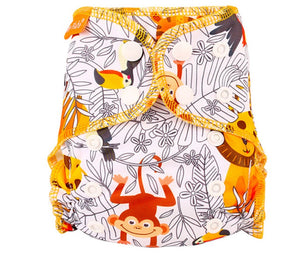 Newborn Happy Flute reusable cloth diaper, ALL-IN-ONE, Jungle