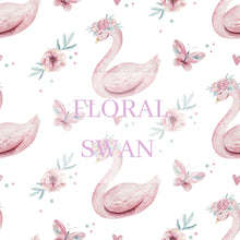 Load image into Gallery viewer, Baby fleece blanket, Floral Swan