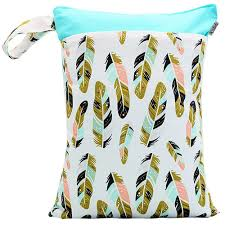 Happy Flute diaper wetbag, Feather print