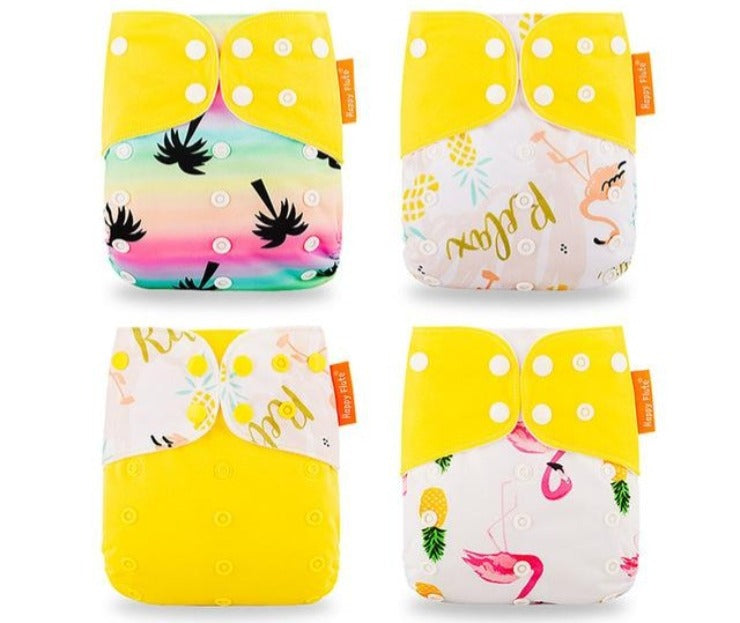 4 Pack, Happy Flute pocket reusable diaper, Yellow